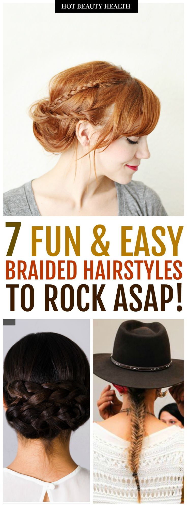 7 easy braided hairstyles you'll love. Learn how to do ponytail, updo, crown, boho and messy styles. Works best on medium and long hair. These cute hair ideas are great for formal like prom and even casual styles for school, work, or everyday. Click pin for the list of step by step tutorials! Hot Beauty Health #hairstyles #hairtutorials #breads #breadedhairstyles