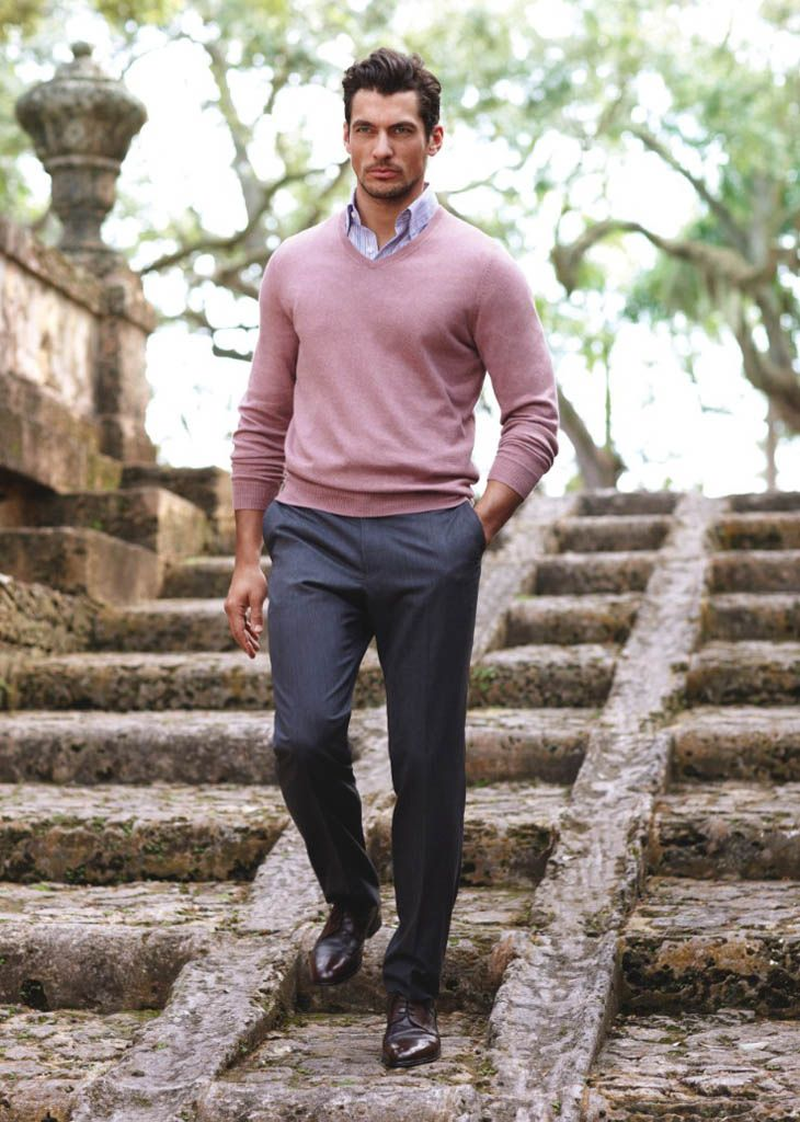 Light blue (or white) shirt, pink sweater, grey trousers and ...