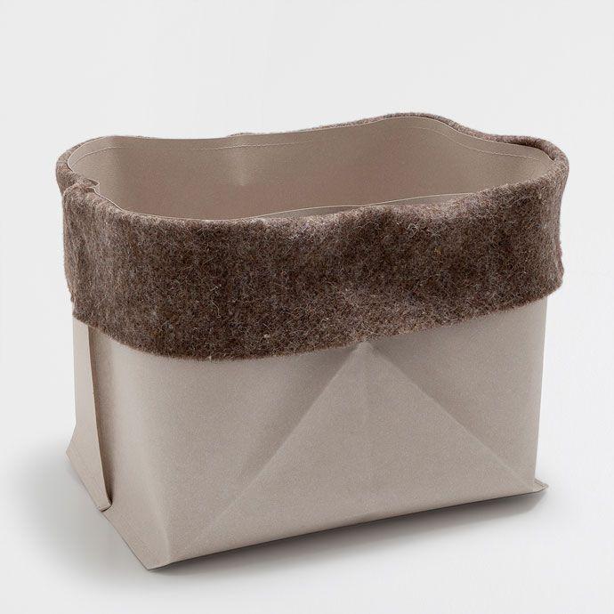 Duży papierowy koszyk z wełnianym brzegiem - Akcesoria dekoracyjne - Boże Narodzenie | Zara Home Polska / Poland