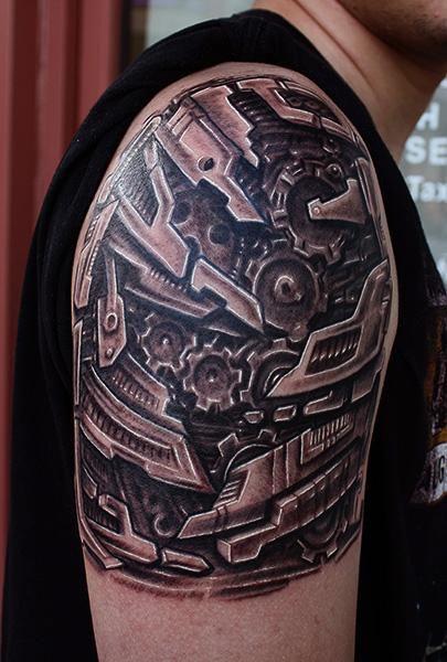 shoulder+biomechanical+tattoos   Bio mechanical tattoo ...