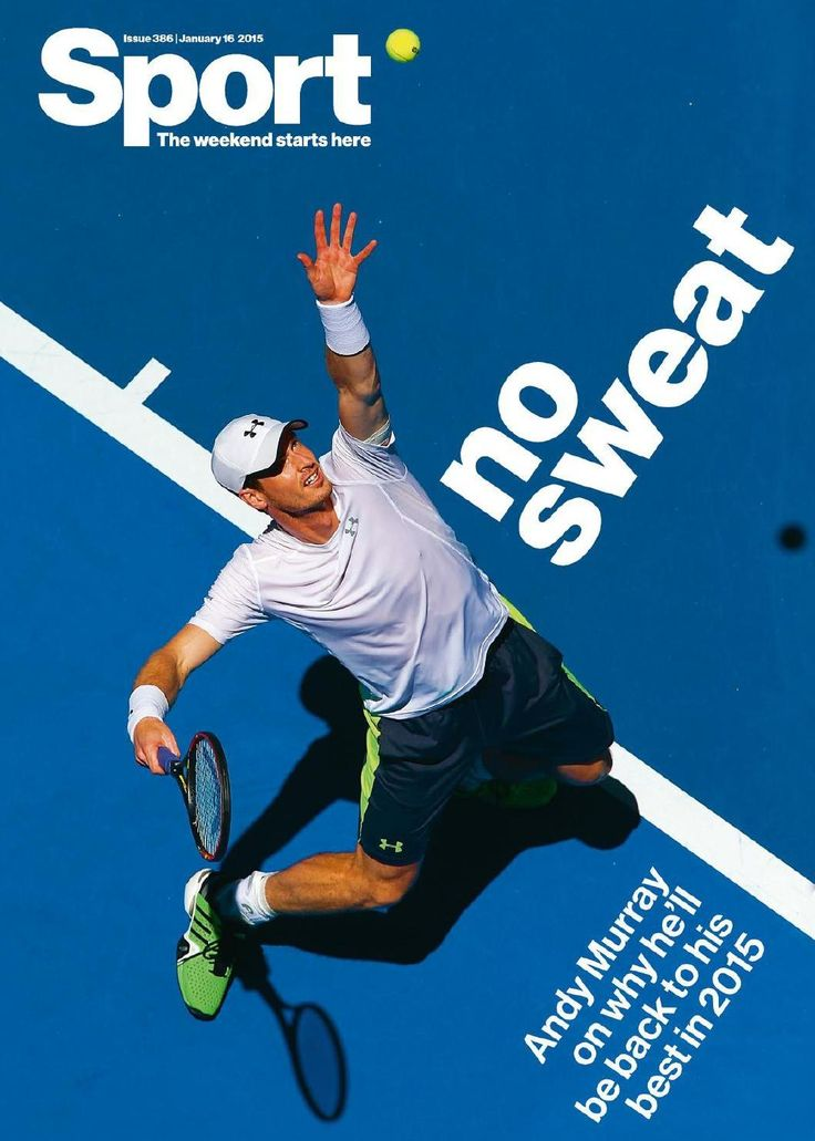 Sport Magazine. Photography is all about angle, angle, angle. How great is this? And the photo is greatly complemented by the use of a plain white, broad sans serif, mimicking the lines on the court.