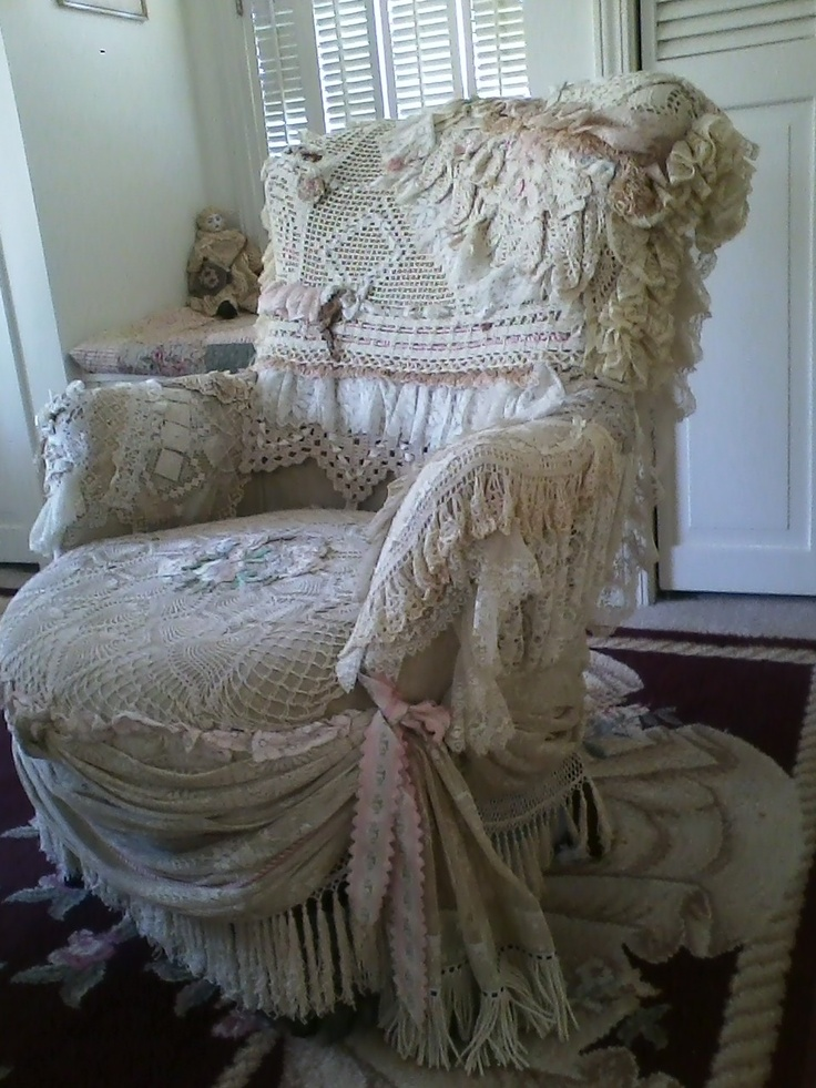 Furniture Doilies #38 - Lace Chair Covered With Lace Trims And Doilies By A Very Talented Friend