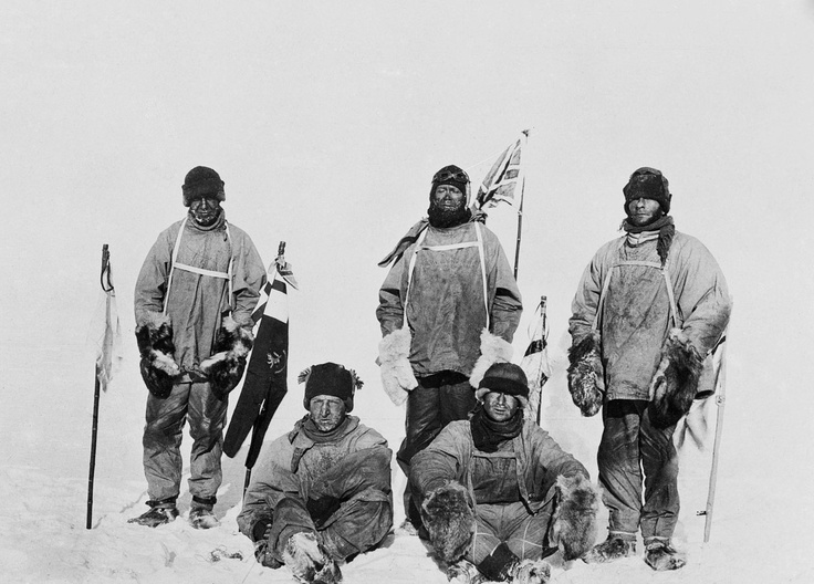 Capt. Robert Scott and team at the South Pole, after finding Roald Amundsen had got there first, 17 Jan 1912.