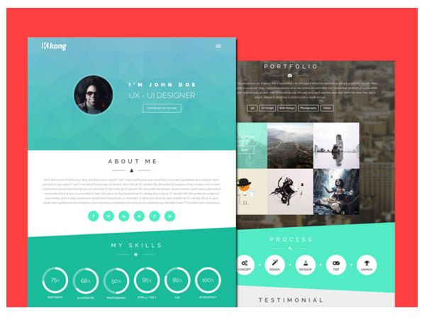One Page Site Aimed Resume Minimalistic Personal Website Focus ...