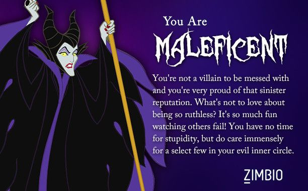 I took Zimbio's Disney villains quiz and I'm Maleficent! Who are you?