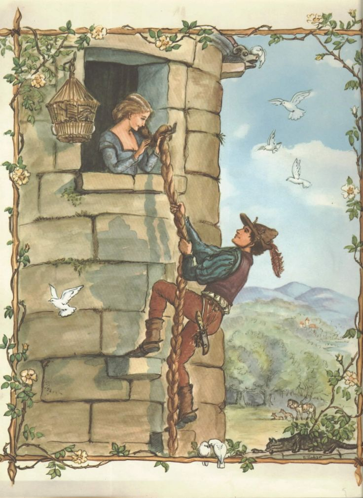 Vintage Tasha Tudor Rapunzel art -- this is the fairy tale book I had as a kid!