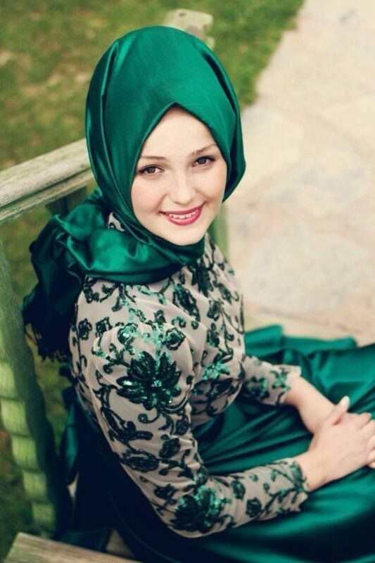 hijab elegante   mode grüne spitze appliziert knöchellänge elegante langarm hijab ...
