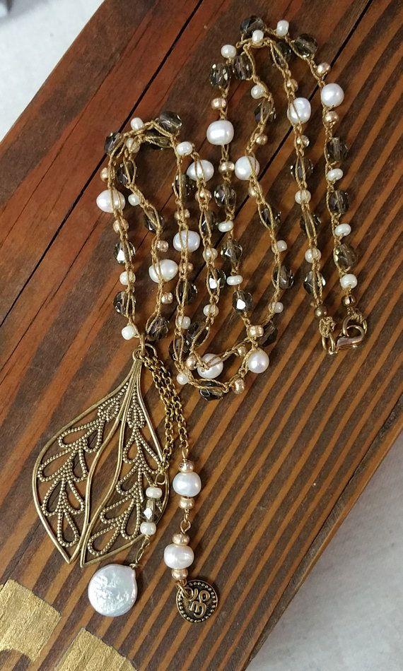 Parelsnoer filigraan hanger kralen ketting Boho door SigalieJewelry