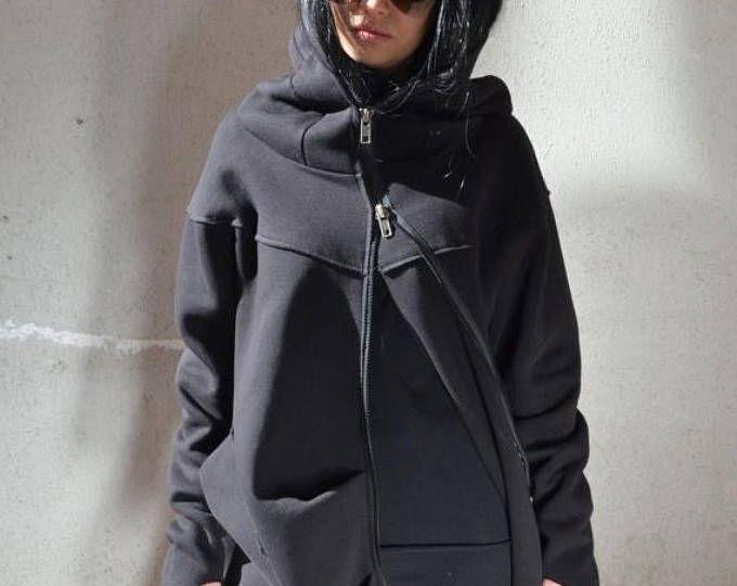 SALE 25% OFF zip up hoodie, zipped up hoodie, women zip up hoodie, sweatshirt plus size, long loose tunic, plus size sweatshirt, hooded swea