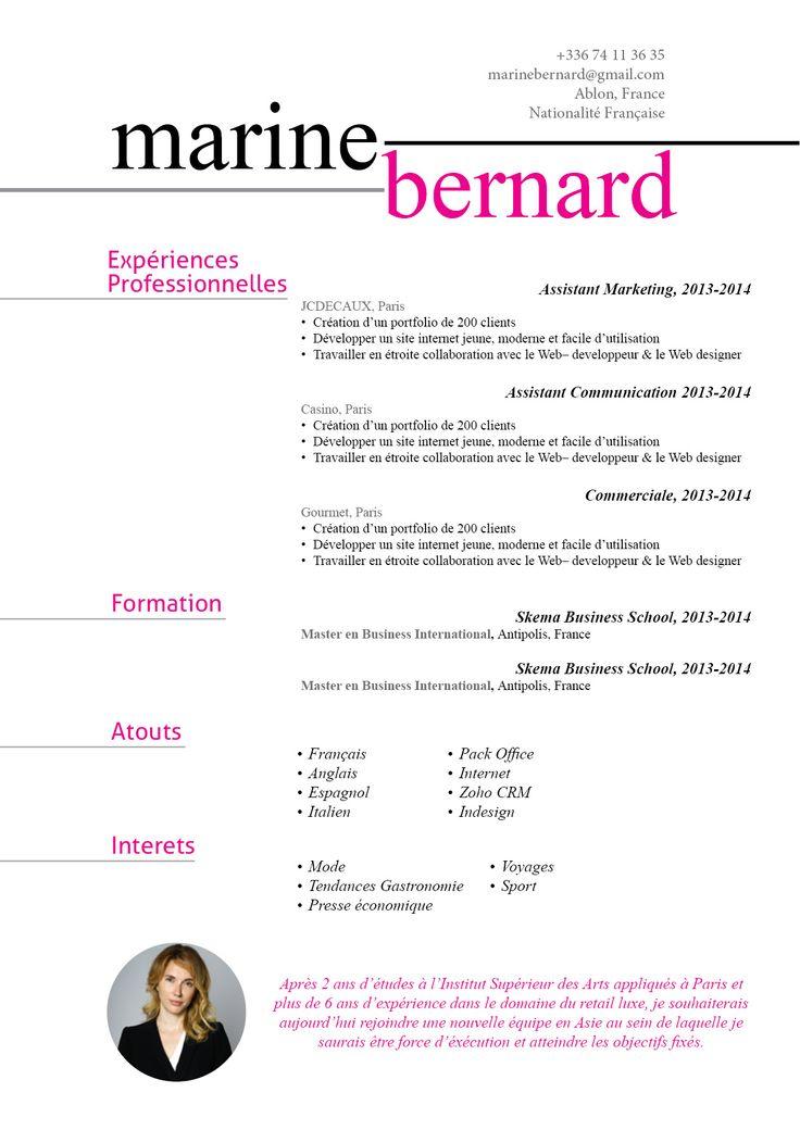 Linéaire - L'idée de découper le CV en deux parties aussi distinctes est intéressante.