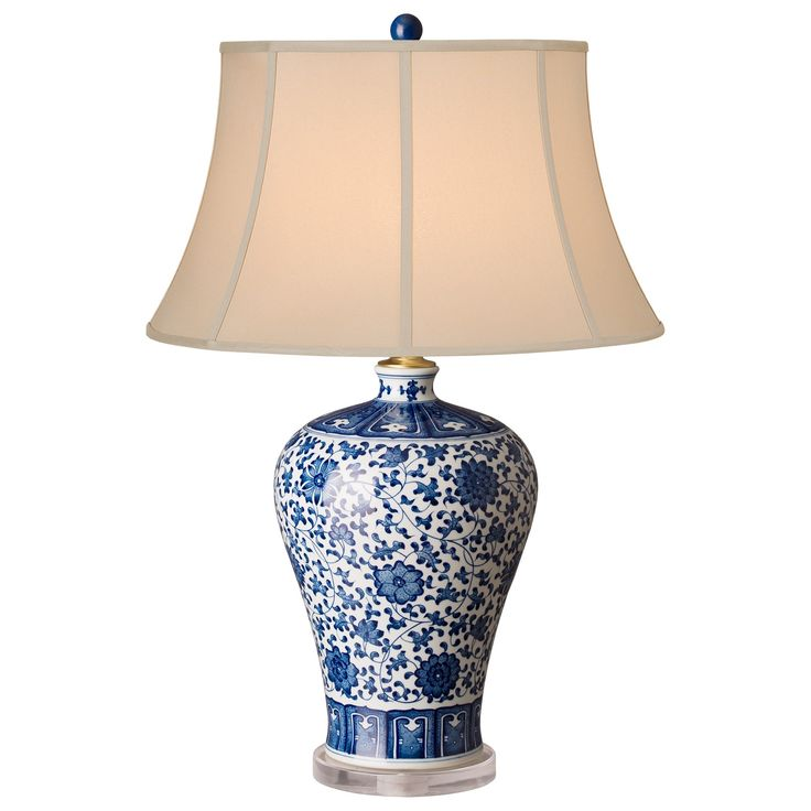 Blue and White Meiping Vase Lamp with Shade - LOW STOCK , ORDER NOW
