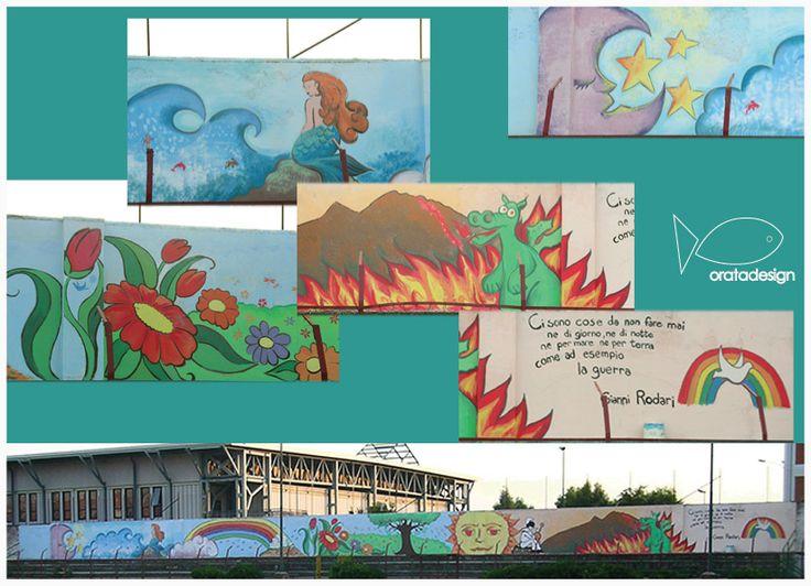 Murales realizzato con bambini Presso Stadio Olimpia 71, Barra,NA.(2006)