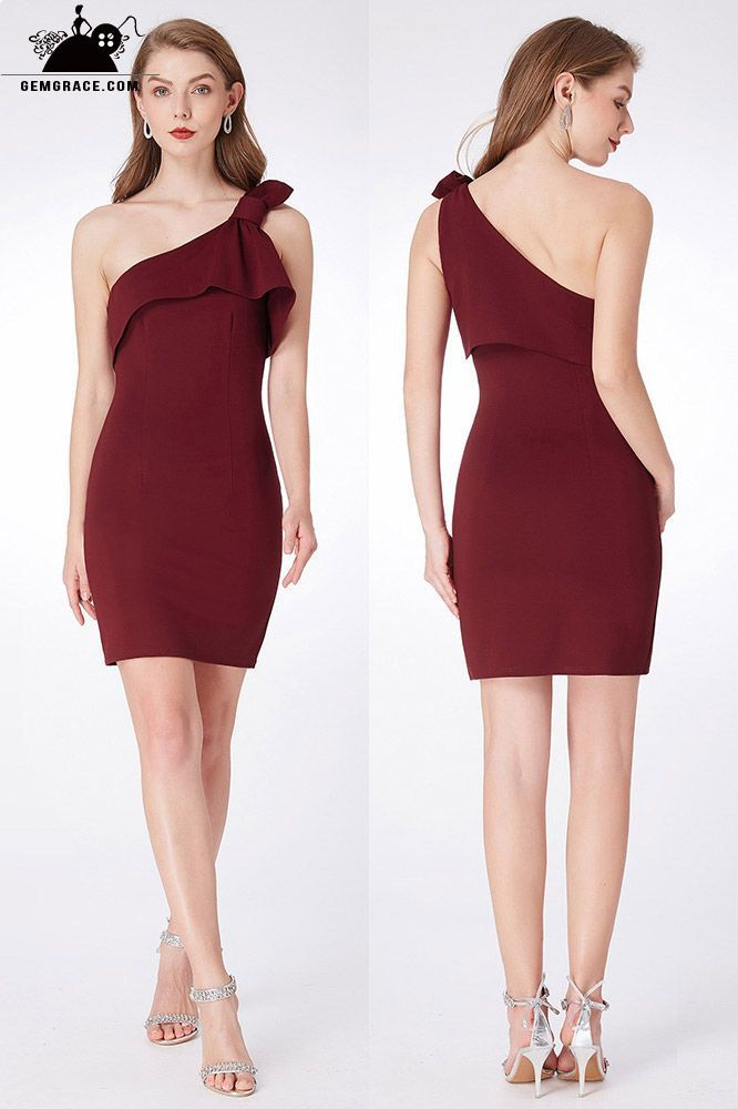 719d02a97362 Only $49, Bridesmaid Dresses Simple One Shoulder Burgundy Cocktail Dress  For Party #EP04020BD at GemGrace. View more Special Occasion Dresses, Bridesmaid ...
