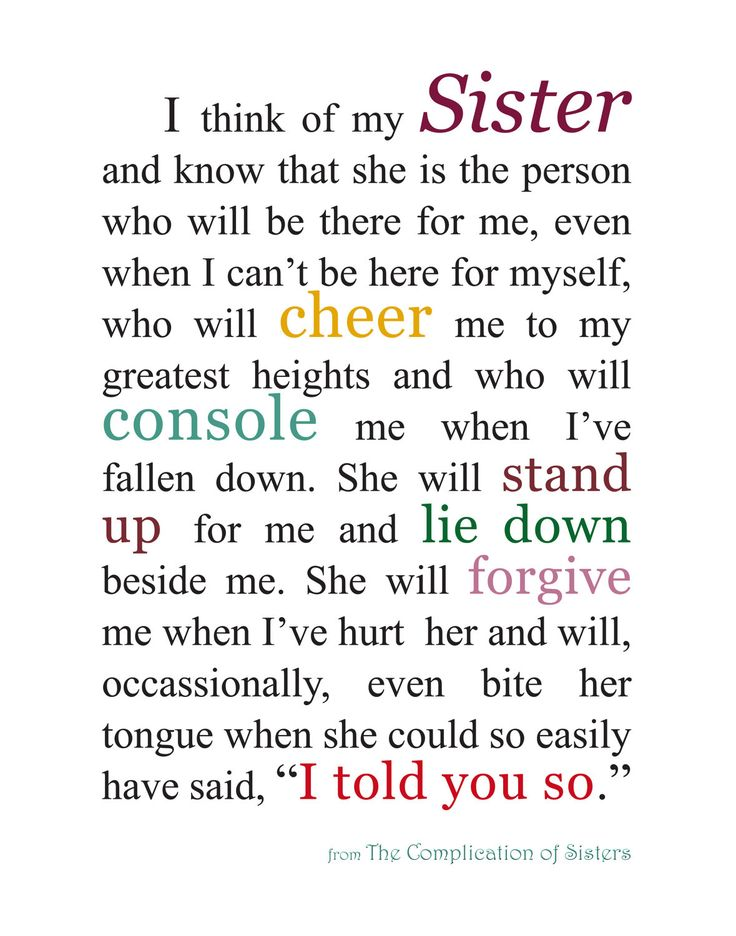 I dont have a Sister in real life but I know someone who I see as my sister and despite us been a million miles away, and sometimes dont speak or communicate for months and I believe years, I know she will always be there like a true sister KIRSTEN. I miss you and love you xx