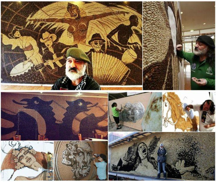 Arta cu aroma de cafea - Saimir Strati a creat 2 lucrari de arta murala din boabe de cafea (si cateva folosind alte materiale) cu care a intrat in Guiness Book. Detalii pe blog: http://www.manufacturat.ro/fara-categorie/arta-cu-aroma-de-cafea/