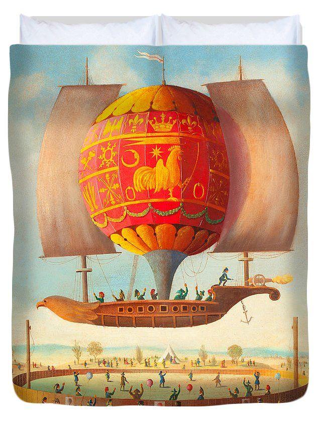 Early French Hot Air Balloon Airship Celebration circa