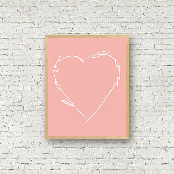 Love Wall Art Rose et Blanc Digital Art Love You par MamzelleJules