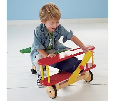 wooden ride-on airplane