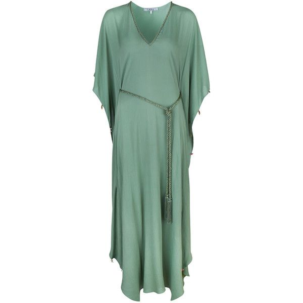 Laetizia Green Charm Maxi Kaftan LAZUL ($565) ❤ liked on Polyvore featuring tops, tunics, kaftan tunic, summer kaftans, green tunic, beach kaftan and beach tops