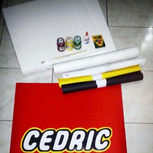 DIY Lego Birthday Banner Made From Styropor, Cartolina