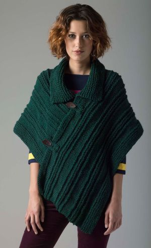 Level 1 Knit Poncho free pattern from Lion Brand