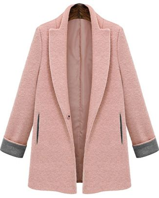Lapel Pockets Woolen Pink Coat