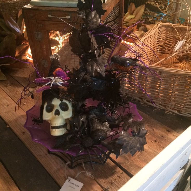 halloween centerpiece with skull spooky tree and glittery bird by msrbachdesigns on etsy https - Halloween Centerpiece