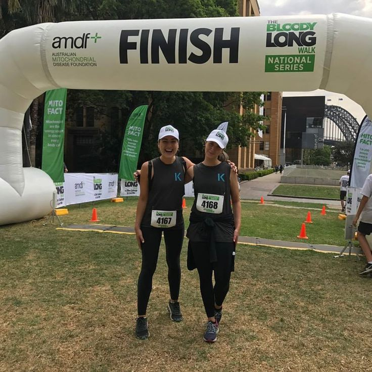 35km COMPLETE!! Brit and I at the finishing line of the @bloodylongwalk this morning. Such a great morning and super lovely sharing it with Brit