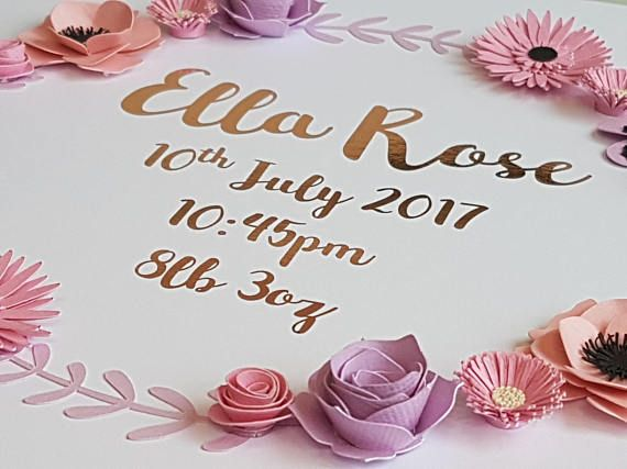 This unique baby personalised picture would make a perfect newborn gift to welcome a new baby girl in to the world, or to mark a Christening or Baptism and have as a cherished keepsake in a Nursery.  The flower artwork picture charmingly captures the memorable details of the birth. The romantic font is surrounded by a delicate palette of hand crafted pink & lilac Peonies, Roses & Pansies.  The picture can be mounted in a glass fronted Black or White wooden box frame or supplied for mo...