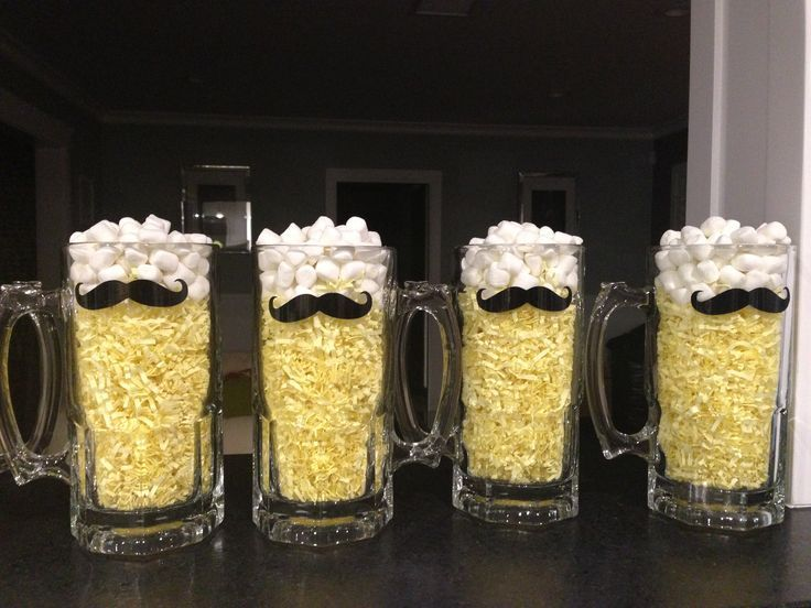 mustache party centerpieces | Mustache beer mug centerpiece