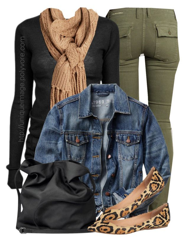 Green Pants, Leopard Flats by uniqueimage on Polyvore featuring polyvore, fashion, style, Rick Owens, Gap, Current/Elliott, Steve Madden, Ann Demeulemeester and Michael Kors