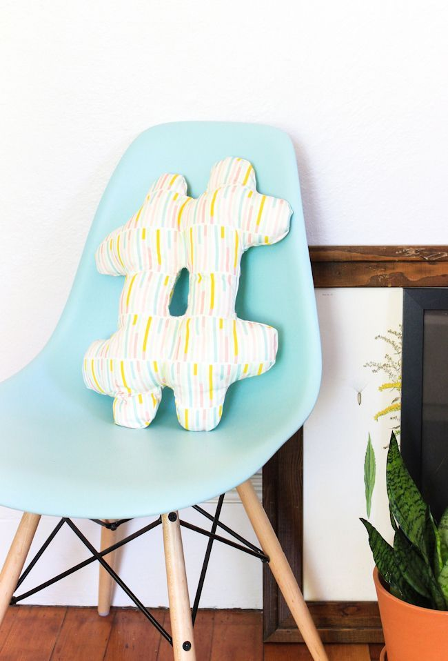 You can make this DIY Hashtag Pillow in less than an hour! Such a fun project for those new to sewing.