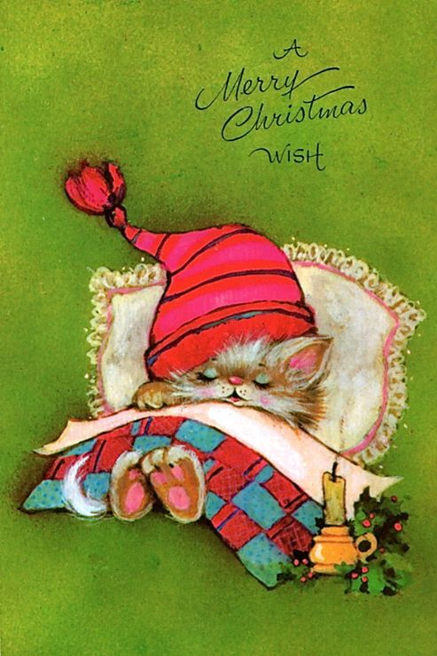 GOOD MORNING, It's Christmas An' You're STILL SNORING???... Santa's Left. It's Been A While...But What He's Left Will Make You Smile!~ c.c.c~Christmas •~• Vintage Kitten Greeting Card