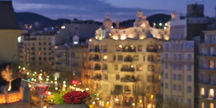 The rooftop champagne bar has sensational views of La Sagrada Familia and La Pedrera.  Condes de Barcelona, Barcelona, Spain