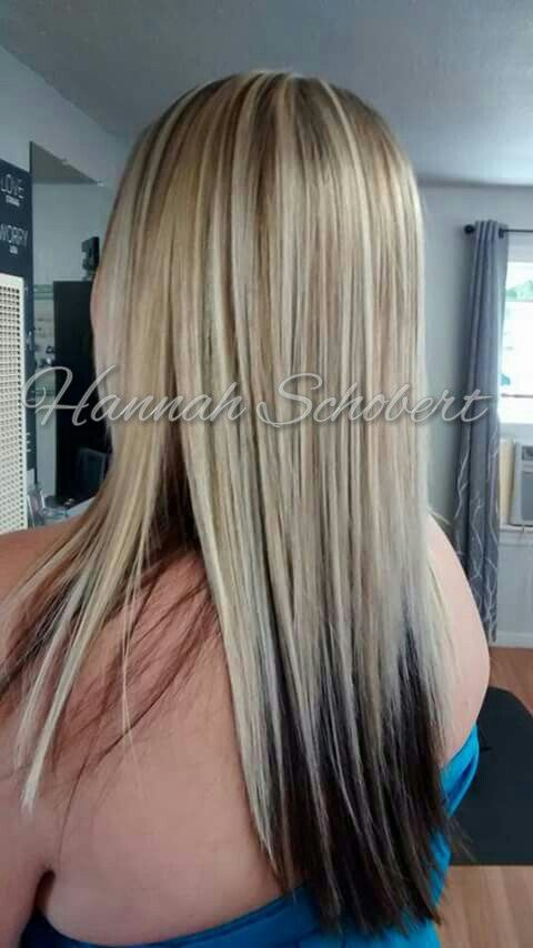 Cool bright heavy blonde highlights with dark underneath with long straight hair by Hannah
