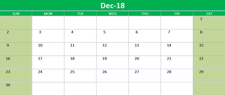December 2018 Excel Calendar Printable 2018 Calendars Pinterest