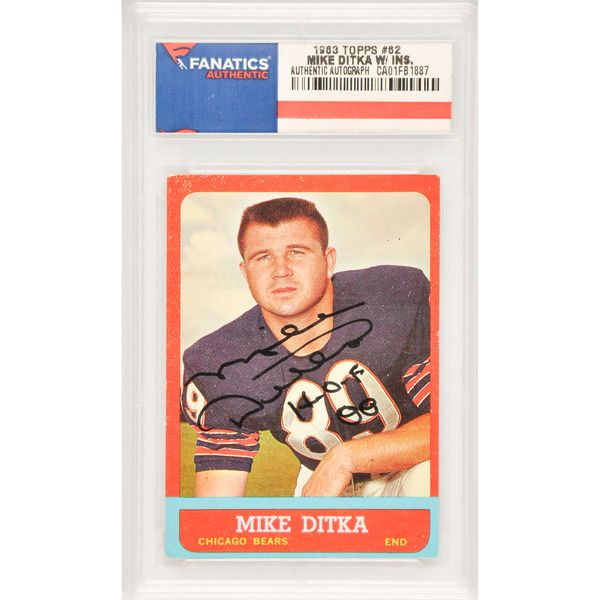Mike Ditka Chicago Bears Fanatics Authentic Autographed 1963 Topps #62 Card with HOF 88 Inscription - $169.99