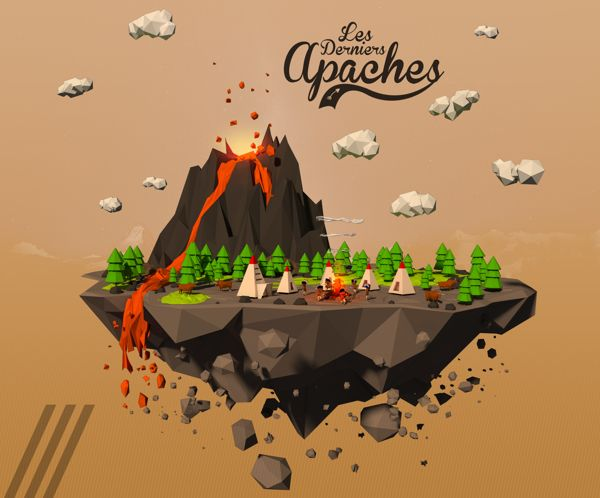 3D Low Poly - Apaches by Alexandre Duforest, via Behance