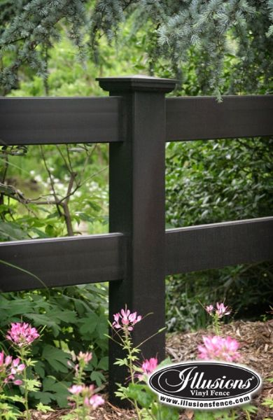 2rail post and rail vinyl fence in grand illusions color spectrum black l105