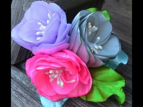 Rosas de fitas com duas camadas e Pistilhos  Passo a Passo-- Ribbon flowers