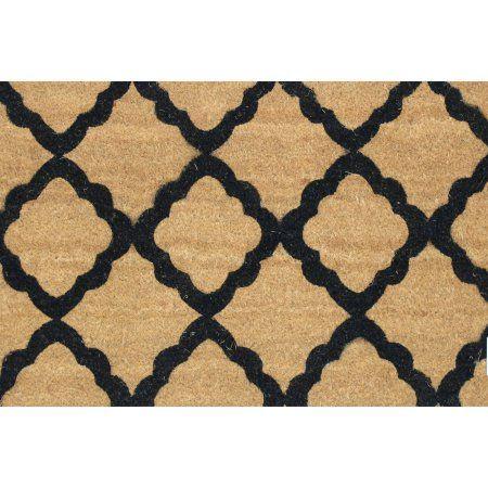 Moroccan Tile 18x30 Inch Printed Coir Doormat, White