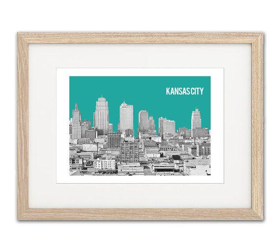 // DESCRIPTION //  Kansas City custom art print.  Kansas City black and white skyline with background color of your choice and city abbreviation.