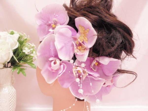 姫系■和装結婚ヘアアクセ♪エリカ様胡蝶蘭蝶々ラベンダー_画像1