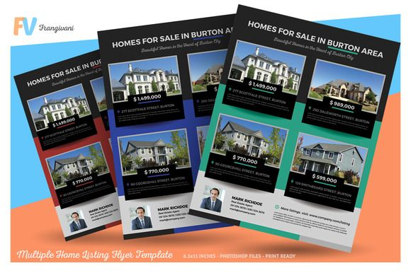 Multiple Home Listing Flyer Template by frangivani on @creativemarket