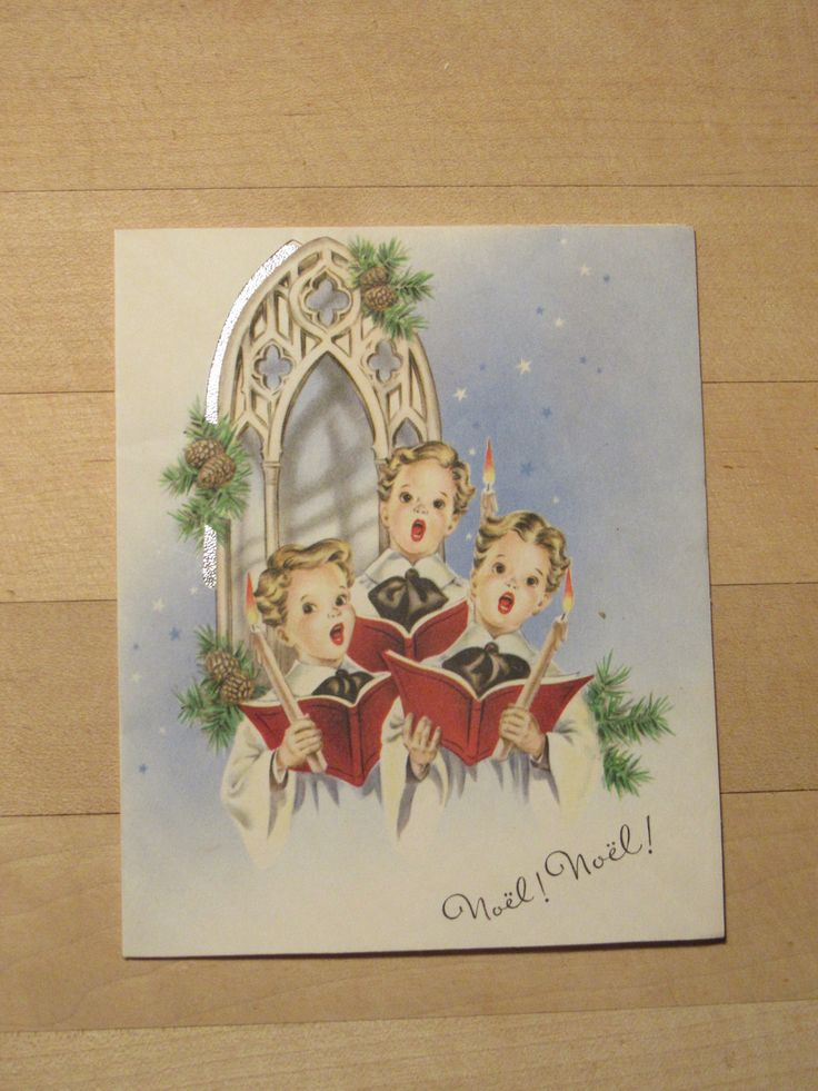 Vintage Christmas Card 1940 Three Choir Boys, Silver Foil, O Little Town of Bethelem, Arched Window, Pine Cones, Not a Reproduction by FoxonRiverRecreative on Etsy