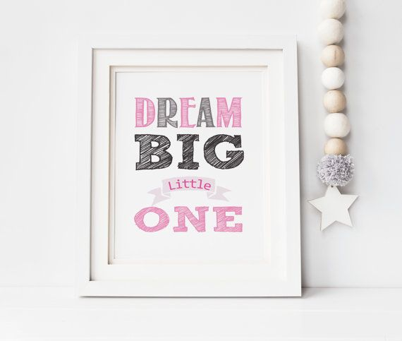 Nursery Wall Art Decor Dream Big Little One by SoulStudioPrints