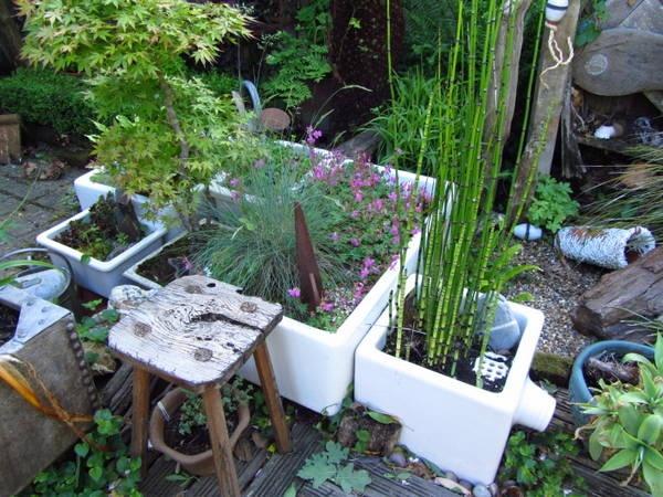 Porcelain sink planters, Belfast sink, vintage garden