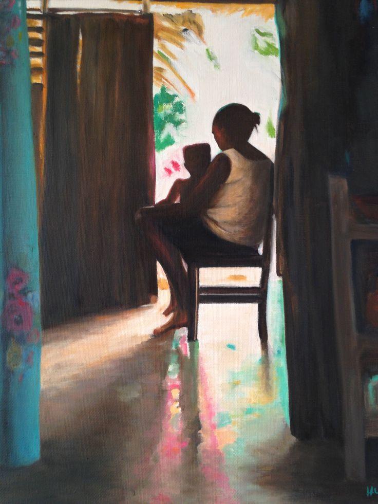 CUBA FEMME ET ENFANT  Huile sur toile d'après carnet de voyage cuba