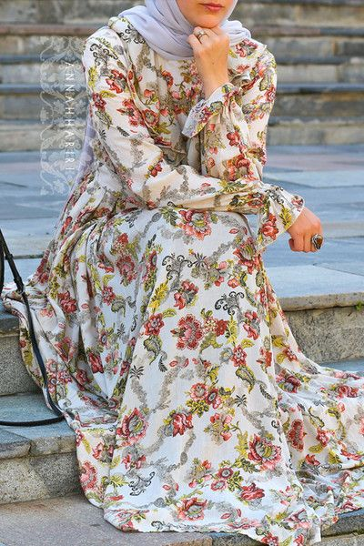 Best seller in 2014 - shall we restock it? Modest maxi dress, floral print @ modest and islamic online store. #hijabfashion