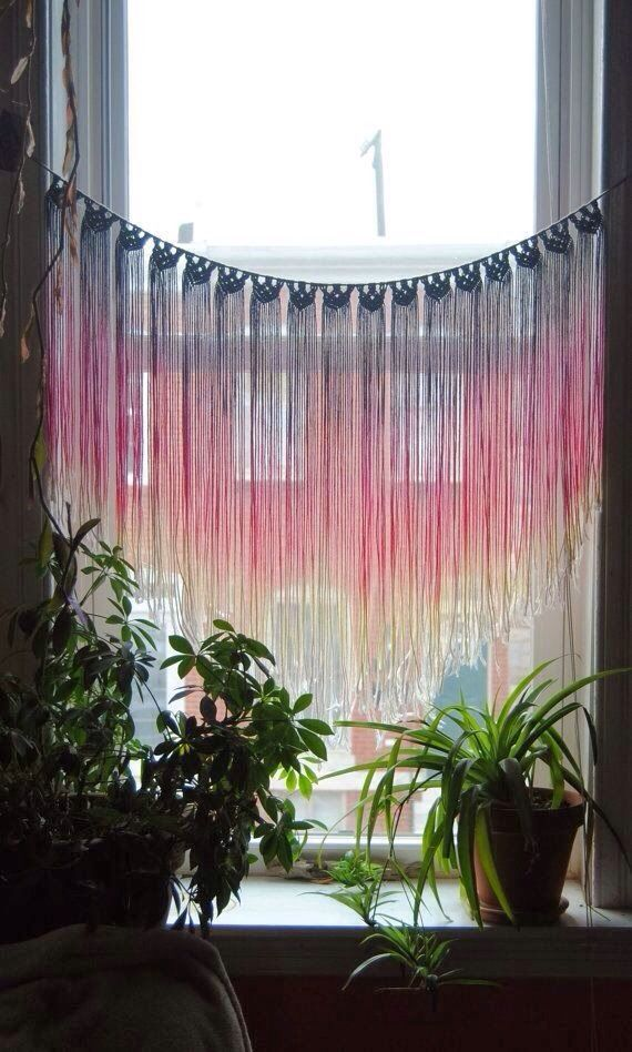 Definitely want to do a window treatment like this to add color and fun to a room. Maybe an old scarf and add beads?